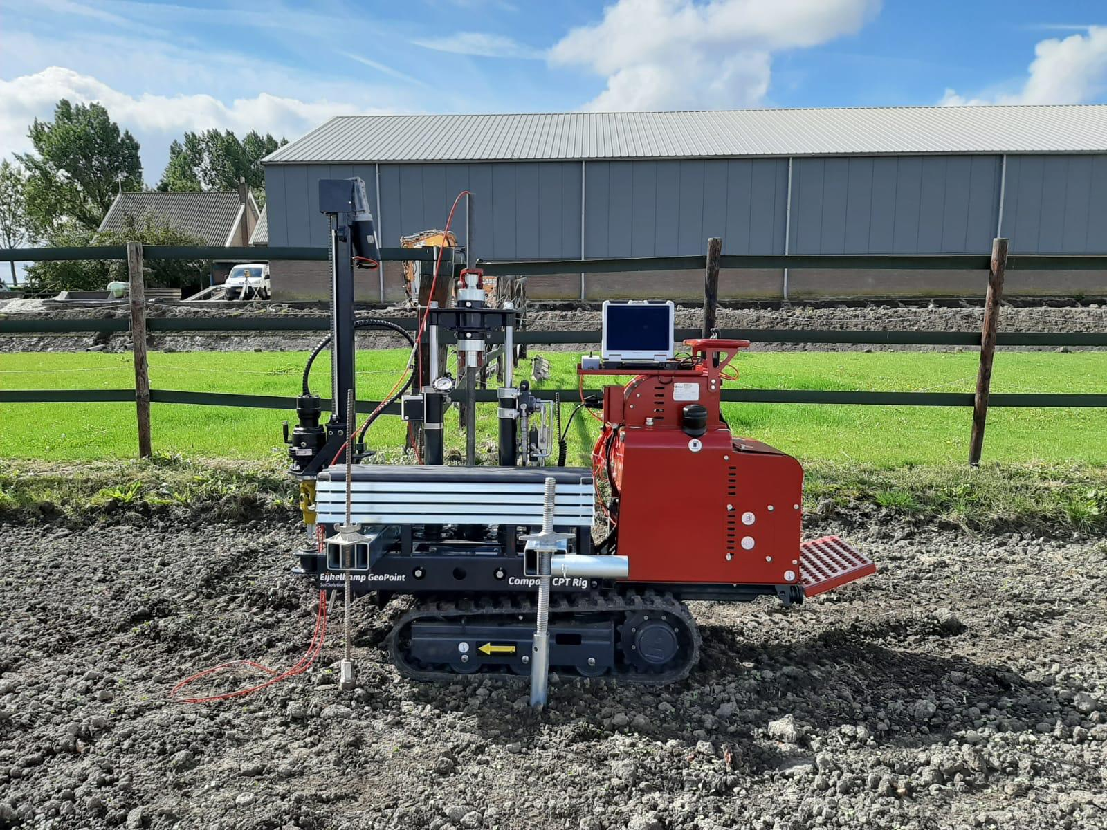 A Compact CPT rig being used for sample testing