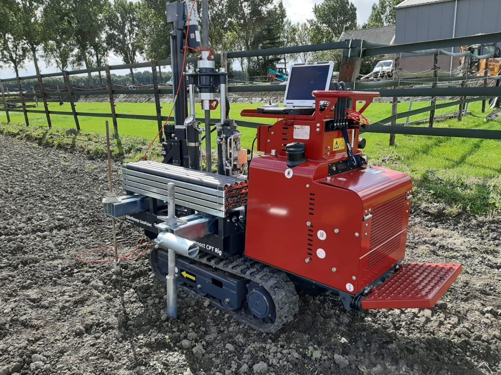 The Eijkelkamp GeoPoint Compact CPT rig in action on a site investigation.