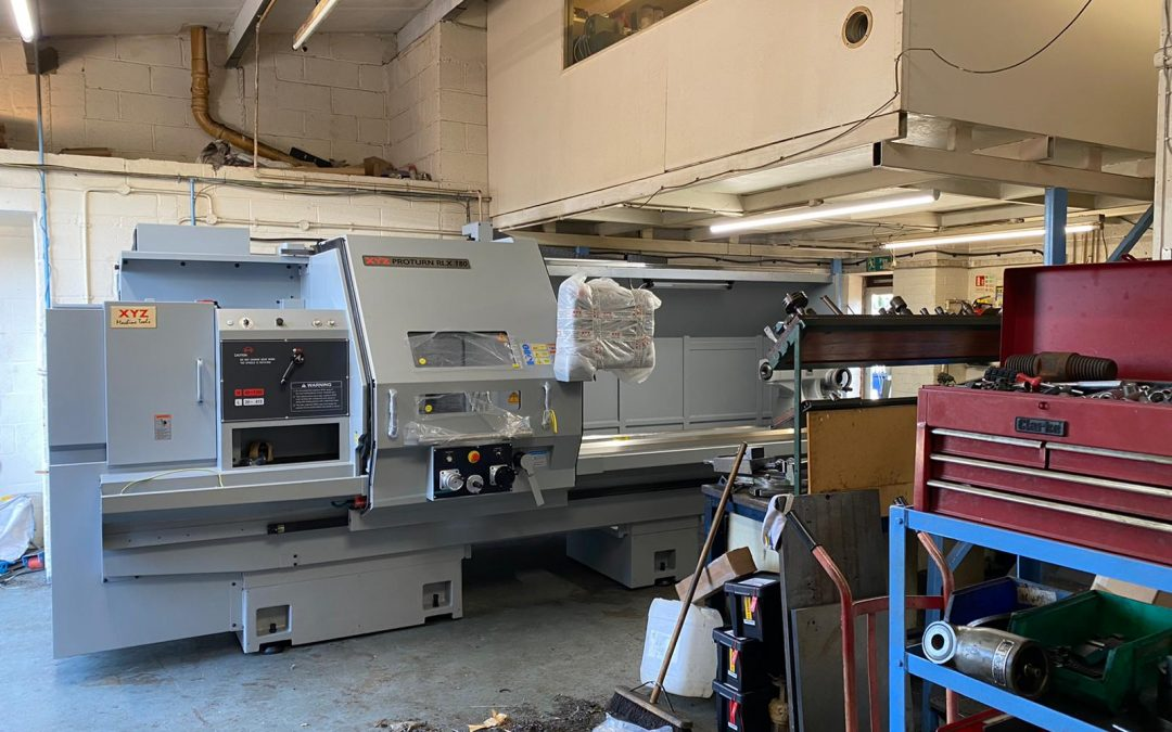 The metal engineering department at Borehole unpack their new XYZ Proturn CNC lathe