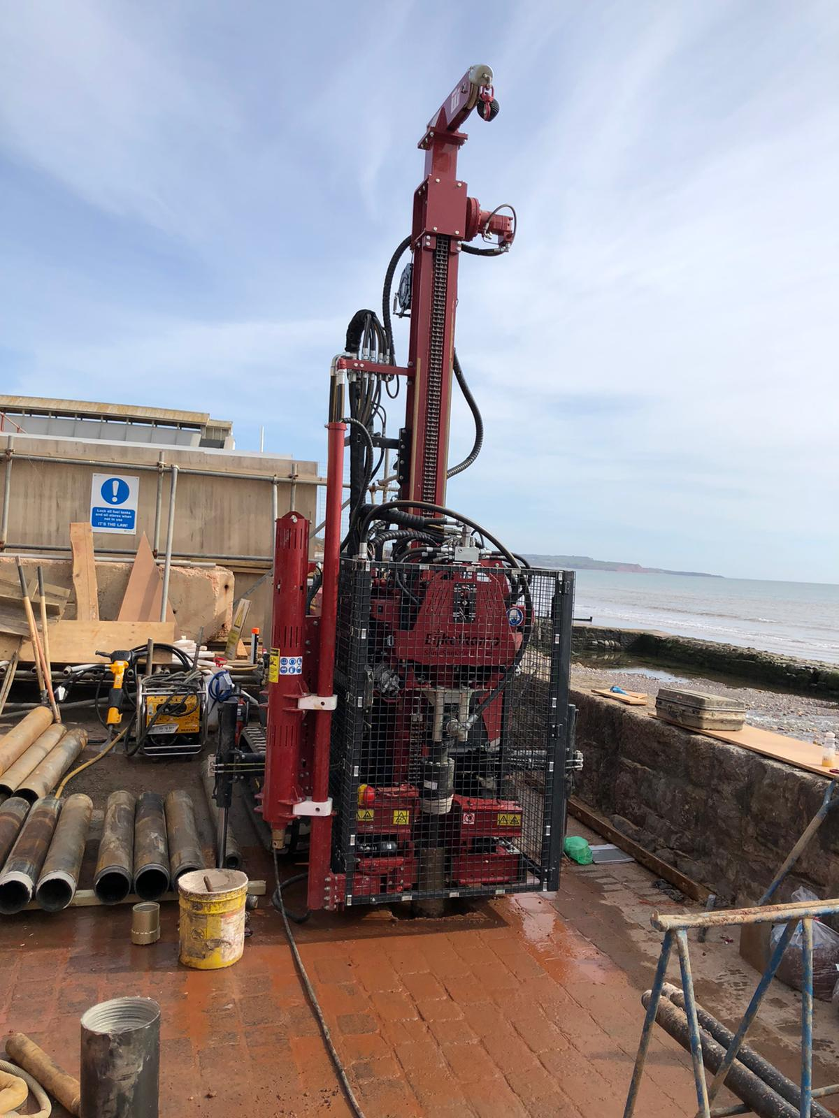 A sonic drilling rig in use