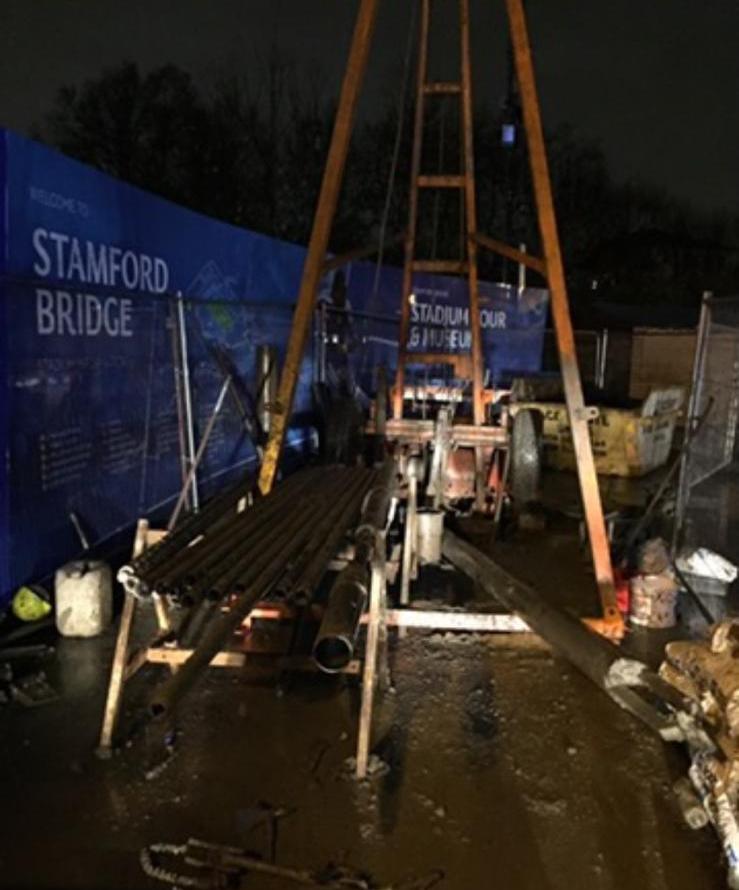 Installation of soakaways at Stamford Bridge.