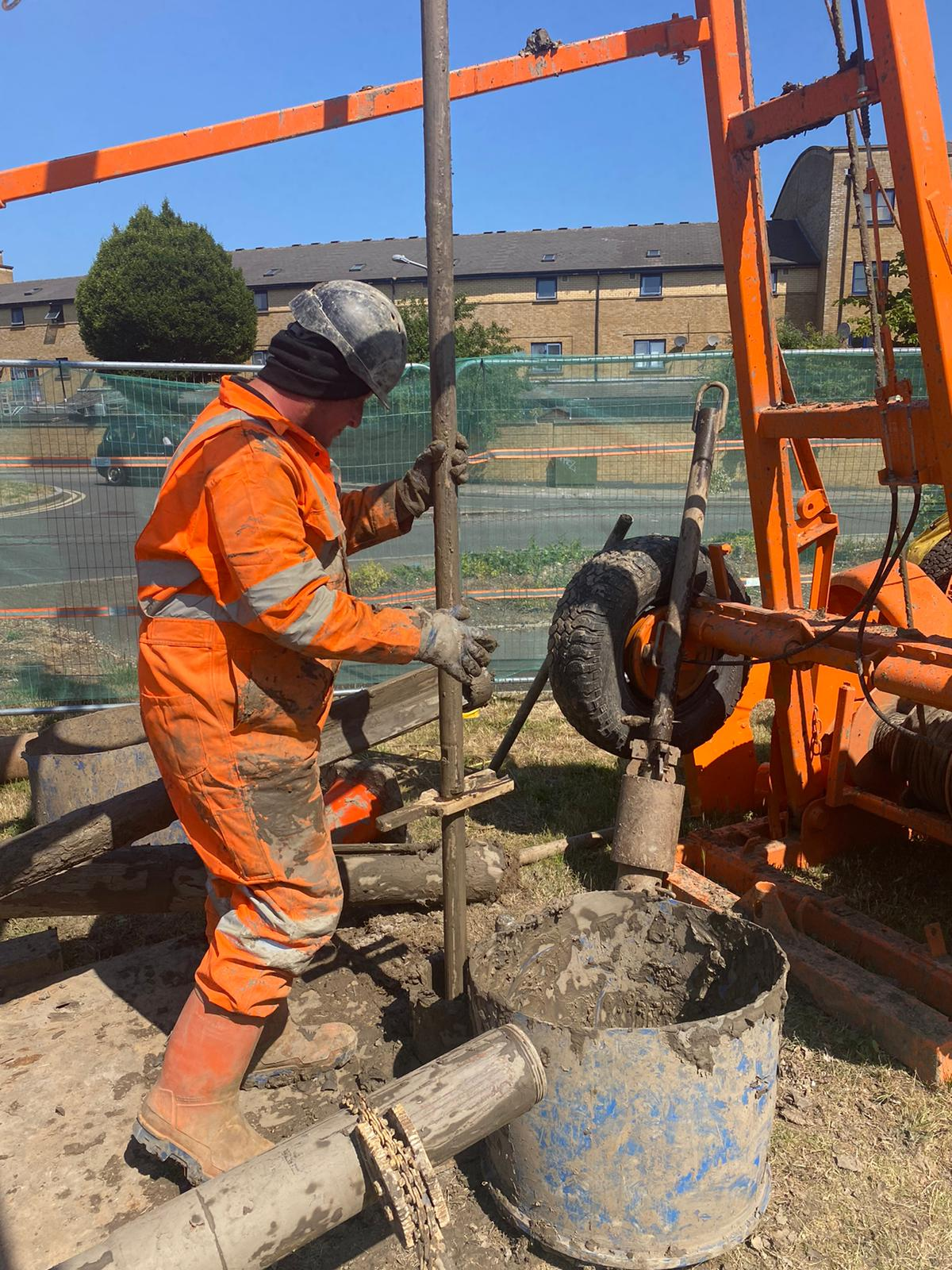 One of the Borehole team hard at work with the Cable Percussion rig