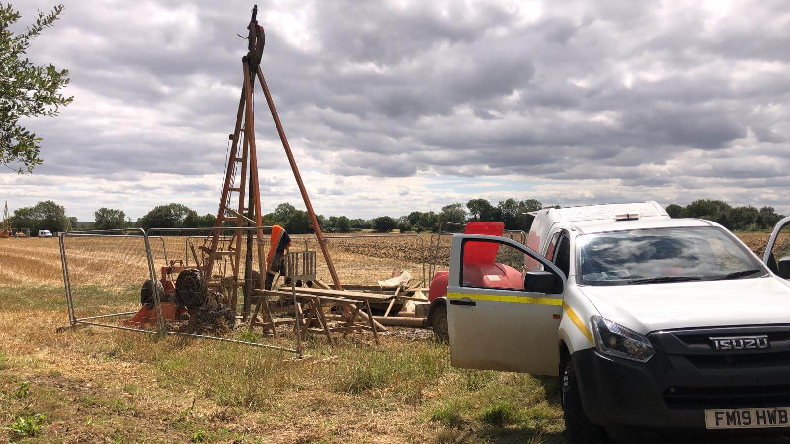 Our geotechnical drilling company getting to work with a cable percussion rig.
