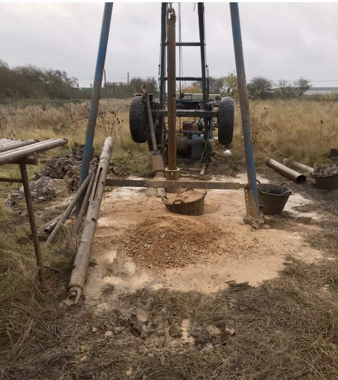 A borehole machine being used to drill for water.